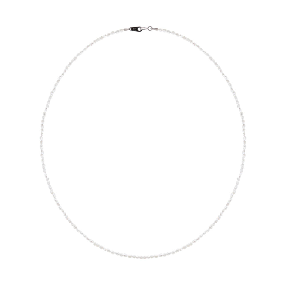 [92.5 Silver]Mini Pearl Line Necklace-S